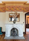 The sitting room fireplace.