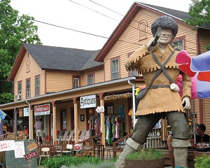 The Sportsman's Alamo Cantina's iconic woodsman statue on Main Street in Phoenicia.