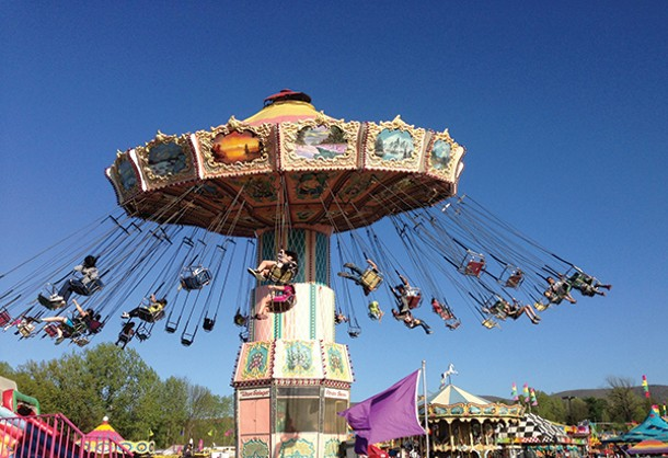 The swing ride at the Hudson Valley Fair, which ran from May 3 to 19 at Dutchess Stadium in Wappingers Falls.
