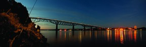 The Walkway Over the Hudson on May 15. The Walkway was outfitted with LED  lights by Andy Neal Lighting of Poughkeepsie. - MICHAEL SIBILIA