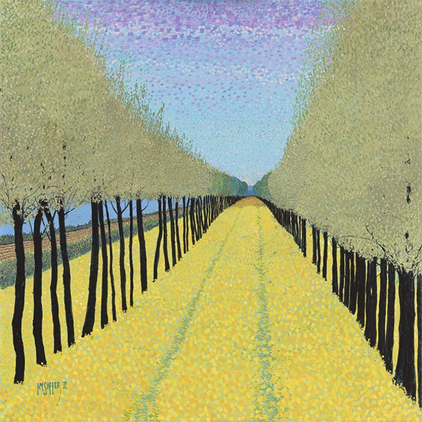 A detail from Golden Boulevard, a painting by HM Saffer, II, a faculty member at Art School of Colombia County. Hmsaffer.com.