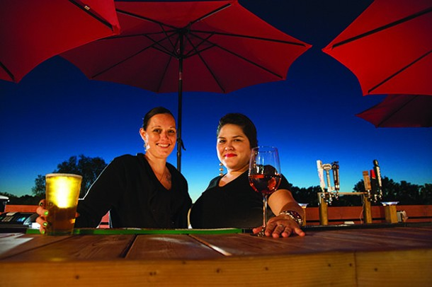 Nikki Hinz and Sean Maldonado - on the rooftop at Frogmore Tavern. - PHOTO BY ROY GUMPEL