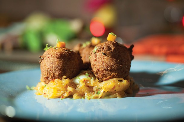 Chickpea fritters on spaghetti squash - ROY GUMPEL