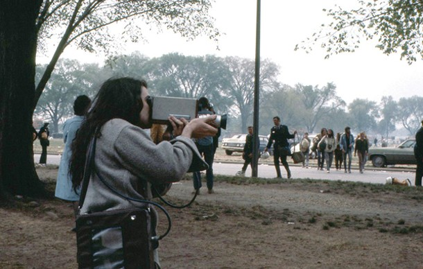 Parry Teasdale of Videofreex at a May Day Protest in 1971. - VIDEOFREEX