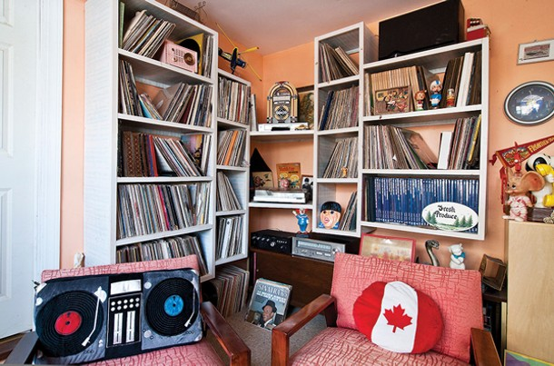 Some of Basile's thousands of records are stored in the Record Room. - DEBORAH DEGRAFFENREID