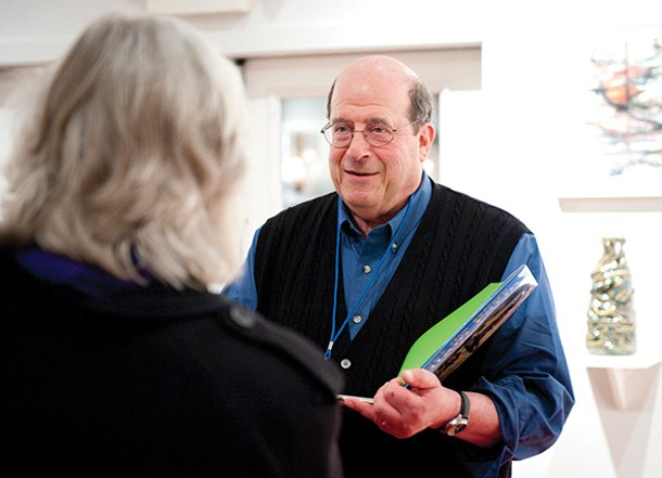 Author Jon Katz talking with a fan at the Woodstock Writers Festival - DION OGUST