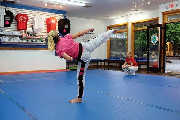 Lauren Betti, left, and Sammy Schreiber at Leclerc's Martial Arts - ROY GUMPEL