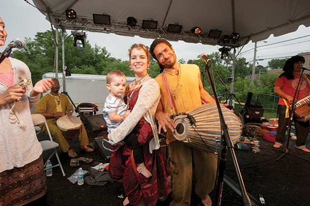 The Mayapuris prepare for a performance of kirtan and inspirational dance with Kazi Oliver supporting at the Newburgh Illuminated Festival. - RUEDI HOFMANN