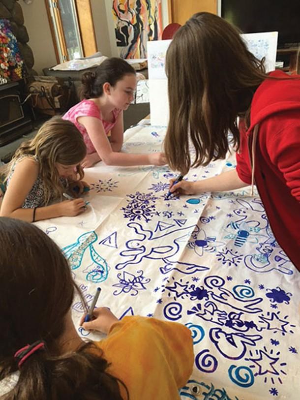 Working on art banners for the Warwick Summer Arts Festival