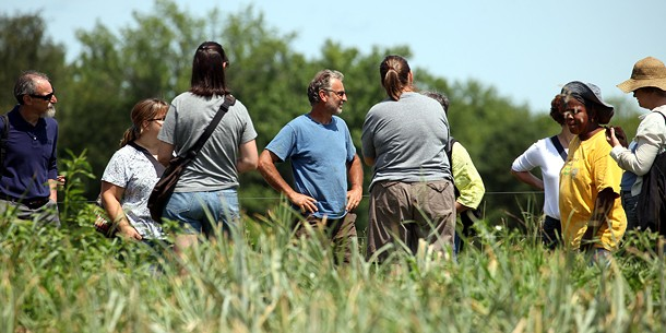 Roxbury Farm founder Jean-Paul Courtens (in blue t-shirt) talks with THV field experience participants at the institute in 2014. - BILL URBIN