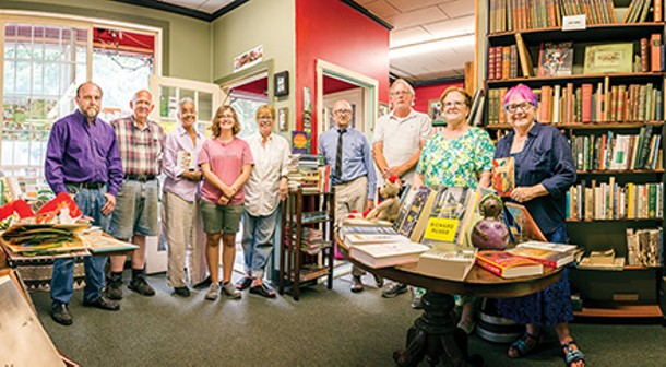 From left: book villagers John Mahoney, Donald Dales,  Cheryl Clarke, Laurel Whritner, Barbara Balliet, Bill Adams, Dennis Lauchman, Kathy Duyer, Bertha Rogers - FRANCO VOGT