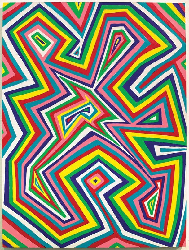 Robert Otto Epstein, Untitled Zigzag 2016, acrylic on hand-gridded panel - PHOTO BY: JASON MANDELLA