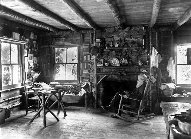 John Burroughs at Slabsides, his rustic cabin in West Park. A new collection of Burrough's writing, Manifold Nature, is being published on October 1.