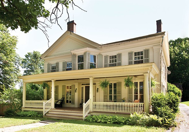 "Sexton and O'Connell's Greek Revival style home in Hillsdale. ""I love that the house has changed over time,"" Sexton says. ""Never with a total gut renovation, just bit by bit.; it has a living history that you can see. I'm still discovering new bits of the story after living here for three years. - DEBORAH DEGRAFFENREID"