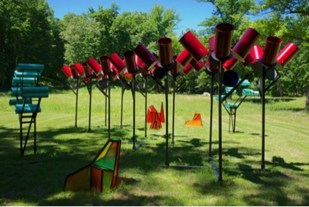 Dennis Oppenheim,  Alternative Landscape Components , 2006. Straight trees, small copyright Dennis Oppenheim. Courtesy of Dennis Oppenheim Estate. - PHOTOGRAPH BY JERRY L. THOMPSON