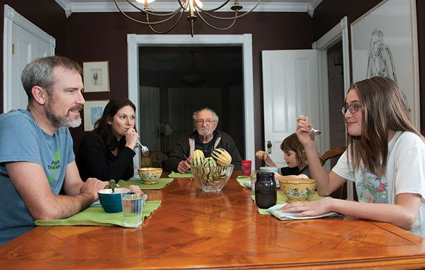 The Dunns' blended family at the dinner table
