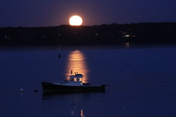 Monday's Full Moon in Taurus, over Casco Bay, Maine. Photo by Amanda Painter.