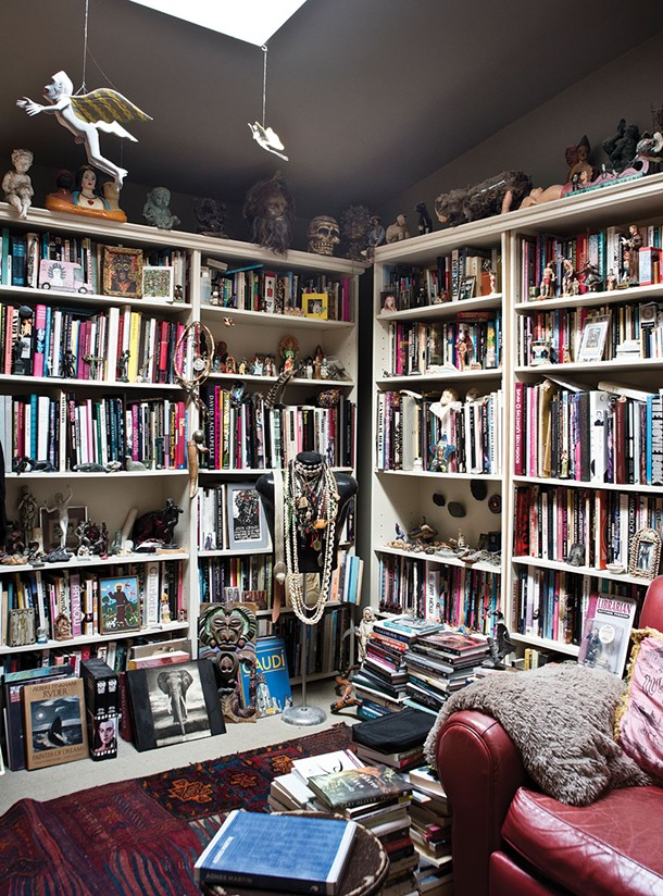 Castellarian's library and painting studio is one of the home's many rooms lit from above and bursting with artifacts of two lives, artfully lived. - DEBORAH DEGRAFFENREID