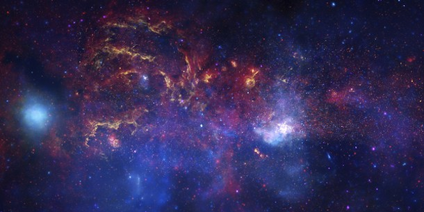 Combined images from several space telescopes pointed into the Galactic Center. Photo by NASA/ESA/SSC/CXC/STScI.