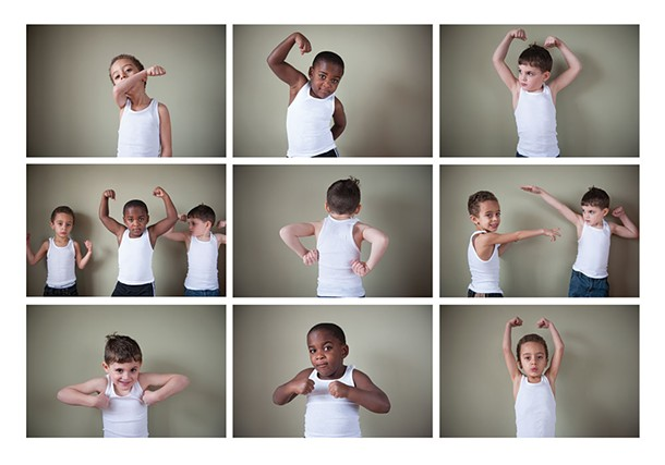 """Preschooler's Logan, Judah, and Iggy flex their """"guns"""". Boys are often taught that their bodies are weapons. - HILARY HARVEY"""