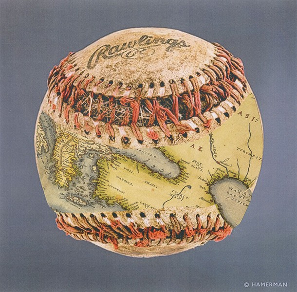 """One of the earliest maps to show the Earth as a sphere was apparently grafted, by some process, onto a baseball. The ball, fished out of the Aegean Sea by a Greek trawler, was later purchased at a yard sale in Lesbos, coincidentally enough, by a cameraperson for """"Antiques Roadshow."""" Alas, in deplorable condition, it sold for a mere five drachmas. - MIKHAIL HOROWITZ"""