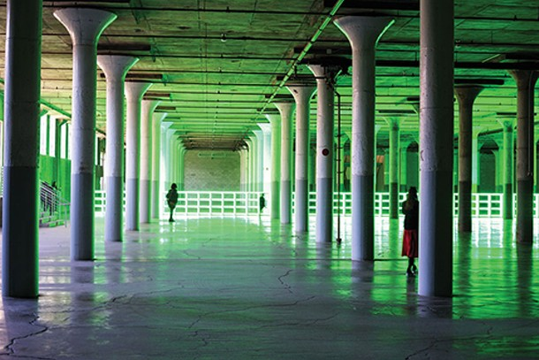 """Dan Flavin's """"Untitled (to you, Heiner, with admiration and affection),"""" 1973, at Dia:Beacon. - JOHN GARAY"""