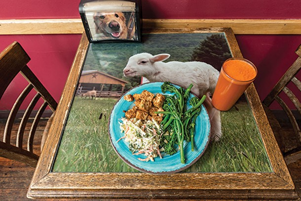 Blackened tofu, garlic broccolini, and a mixed veggie slaw with a carrot apple ginger juice - FRANCO VOGT