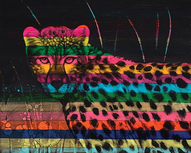 """""""Cheetah"""", Stephanie Rivers, acrylic and oil on canvas."""