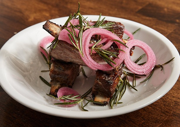 Lamb ribs with fried rosemary and pickled onions at Dolly's Restaurant in Garrison, NY.