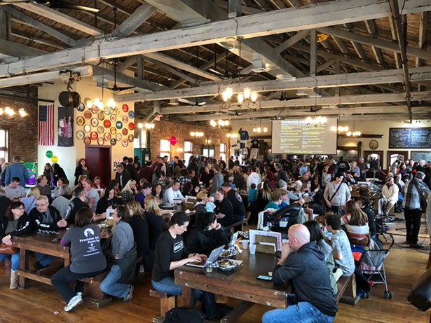 The crowded taproom at Newburgh Brewing Co.