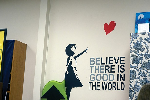 A slogan on the wall of a classroom at Newburgh Free Academy North Campus. - PHOTO BY IYANNA MORENO
