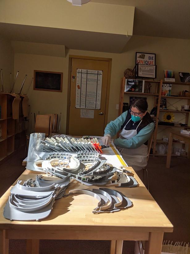 Elizabeth Sherwood producing shields at the Homestead school in Glen Spey.