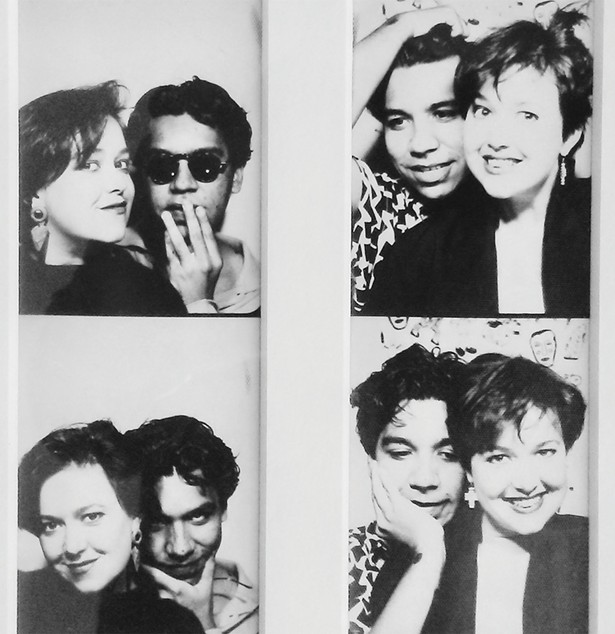 McCranie and Magri in the photo-booth at Little Rickie, an East Village novelty shop, in the 1980s.