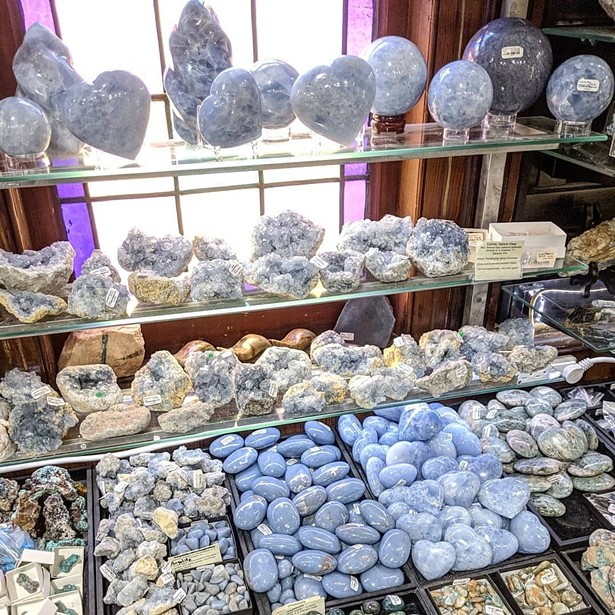 A display of blue calcite minerals - ALL IMAGES COURTESY CRYSTAL CONNECTION