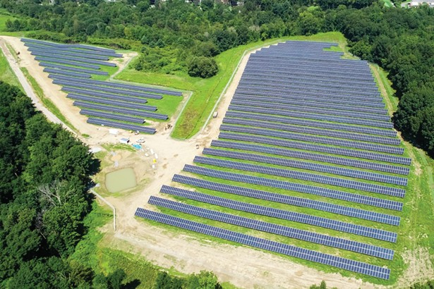 Arial photo of ForeFront Power's Mechanicville Community Solar project - PHOTO: FORE FRONT POWER