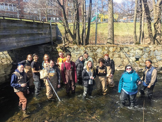Dutchess Community College students at monitoring the Fall Kill Creek in Poughkeepsie.