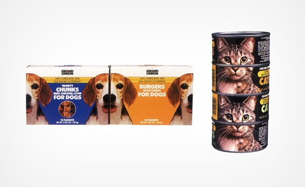 Milton Glaser's overhaul of Grand Union supermarket extended to every aspect of the shopping experience, down to the design of the pet food packaging. - COURTESY MILTONGLASER.COM