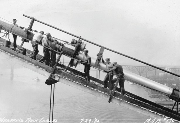 Workers wrapping cable on the Mid-Hudson Bridge in 1930. When it opened, the Mid-Hudson was the sixth longest suspendion bridge in the world. - IMAGE COURTESY OF HISTORIC BRIDGES OF THE HUDSON VALLEY/ARCADIA PUBLISHING