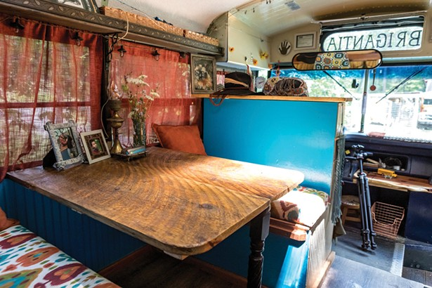 The benches in Snyder's bus were salvaged from the recent renovation of Shadowland Stages in Ellenville. - PHOTO BY WINONA BARTON-BALLENTINE
