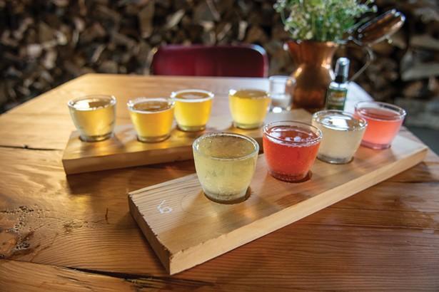 A tasting flight at Left Bank Cider's tasting room in Catskill.