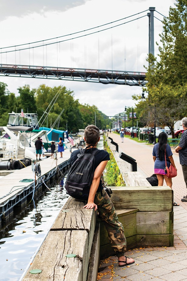 The downtown Kingston waterfront on the Rondout Creek is a popular boating and dining destination, even during a pandemic. - PHOTO BY ANNA SIROTA