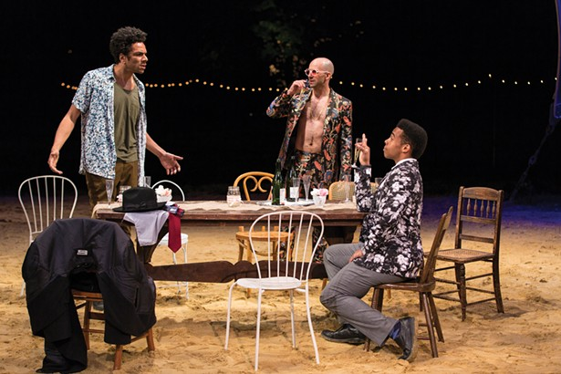 """Biko Eisen-Martin, Mark Bedard, and Ralph Adriel - Johnson in Hudson Valley Shakespeare Festival's 2018 - production of """"The Taming Of The Shrew"""" - PHOTO BY T. CHARLES ERICKSON"""
