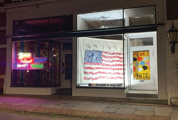 """Neon works from the series """"Beloved Community,"""" by Erika deVries. Encaustic - painting This American Life (after 1918 Arthur J Telfer photograph) by Denise Orzo. - Speak Up—Vote by Ryan Cronin"""