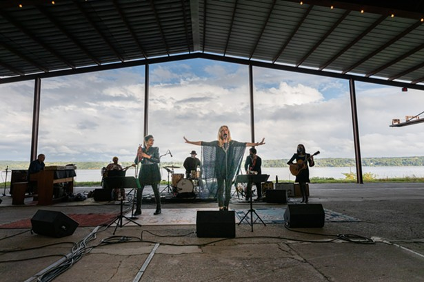 Simi Stone and Justin Vivian Bond perform with, L to R, John Medseki, Meshell Ndegeocello, Ben Perowsky, Dan Littleton, and Story Littleton at Hutton Brickyards for the taping of the Hudson Valley Votes 2020 virtual Get Out the Vote concert. - PHIL MANSFIELD