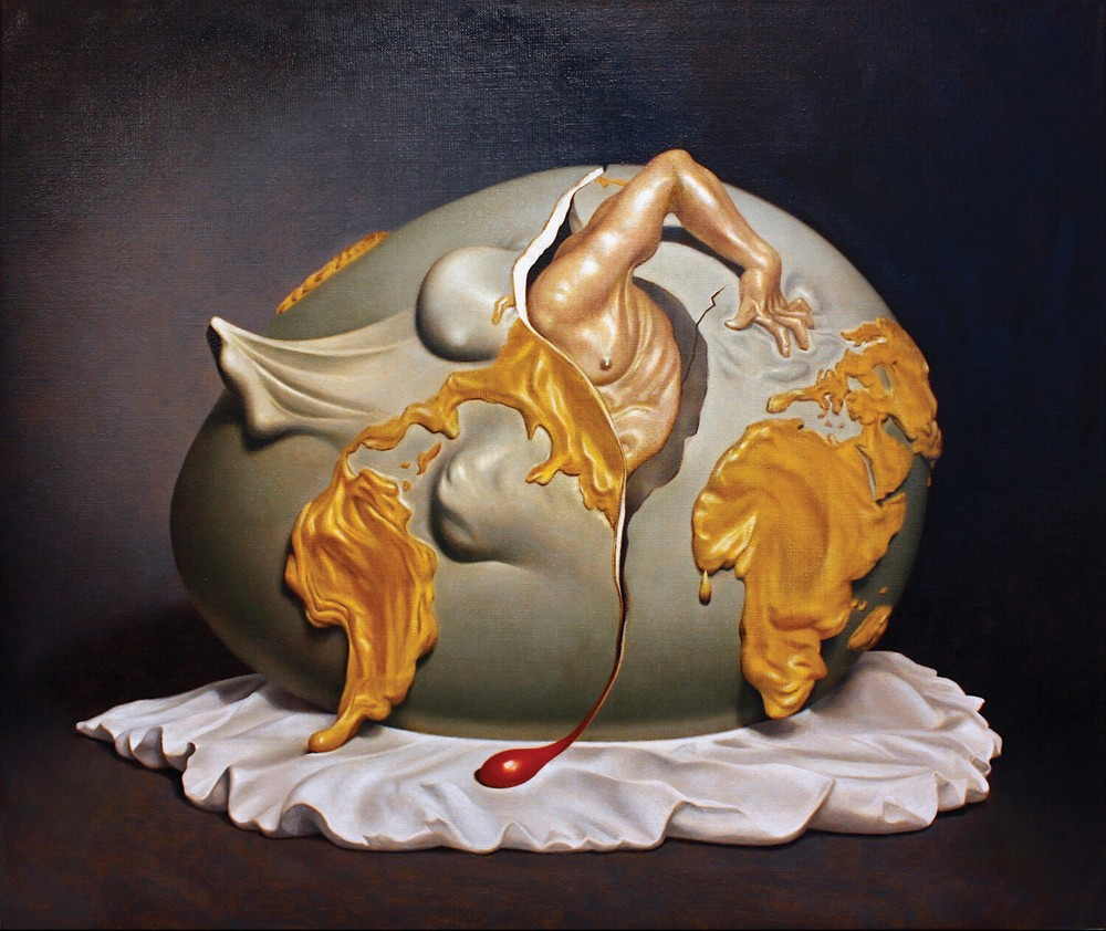"Birth of the New Man, after Salvador Dali, oil on linen, 20"" x 24"", 2020 - KEVIN FRANK"