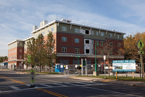 Zero Place, a mixed-use project featuring 46 apartments (five units are earmarked as affordable) and 8,400 square feet of retail space, was recently awarded a New York State Building of Excellence award for energy efficiency. Construction is expected to be complete early next year.