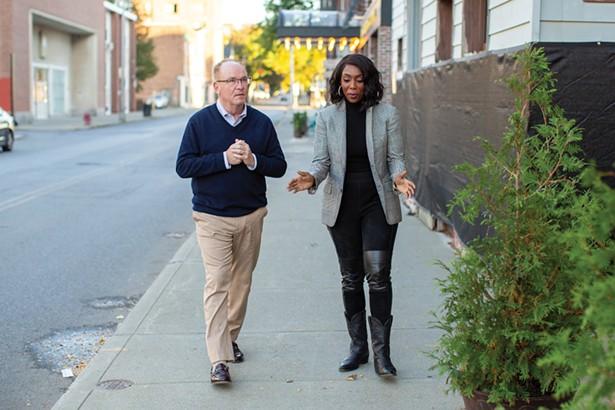 Poughkeepsie Mayor Rob Rolison and Uncharted Power's Jessica O. Matthews.