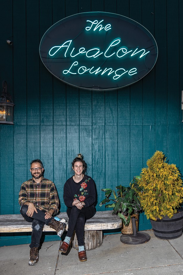 Liam and Laura Singer outside the Avalon Lounge, the music venue they turned into a Korean take-out restaurant during the pandemic. - PHOTO BY ALON KOPPEL