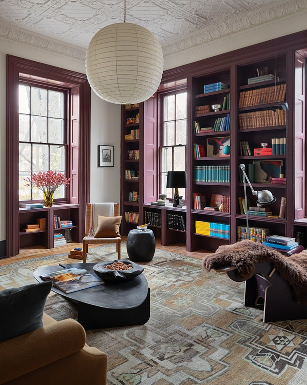 A twist on the classic dark, masculine library with tasteful pops of pink and plum from Patrick Ryan of Patrick Ryan's Office. The book selection was curated by Jessica DuPont of Half Moon Books. - ARIEL CAMILO PHOTOGRAPHY CO