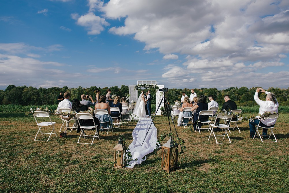 Heather Kunkel and Cherie Davis at their backyard wedding in Dutchess County in late September. - PHOTO BY CHRISTINE ASHBURN